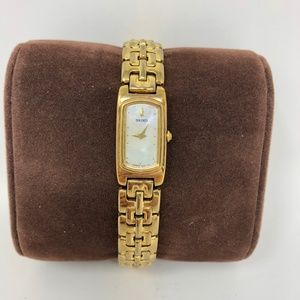 Seiko Mother Of Pearl Watch Square Gold Link Band